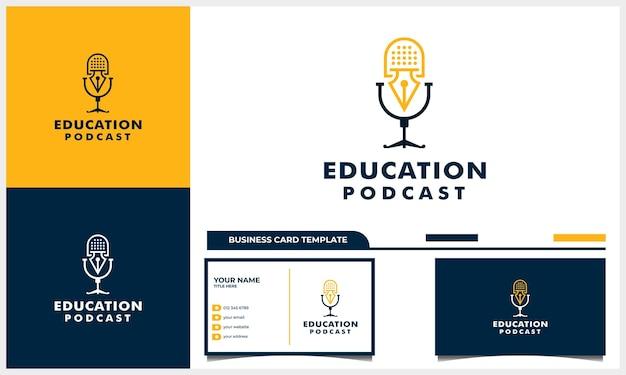 Design de logotipo de podcast com conceito de símbolo de educação e modelo de cartão de visita