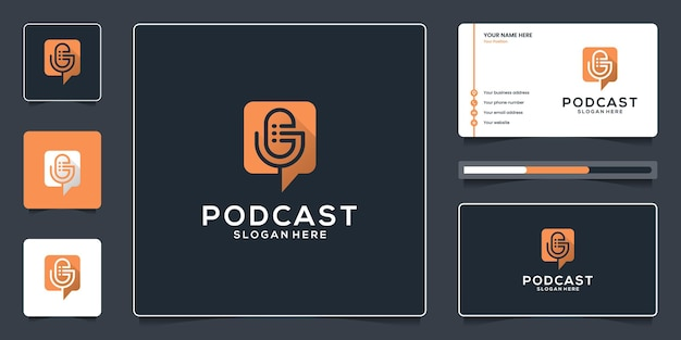 Design de logotipo de podcast de bate-papo e modelo de cartão de visita