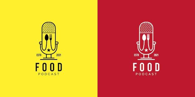 Design de logotipo de podcast de comida em modelo de fundo amarelo ou vermelho
