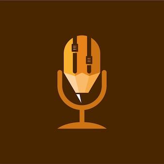 Design de logotipo de podcast de lápis