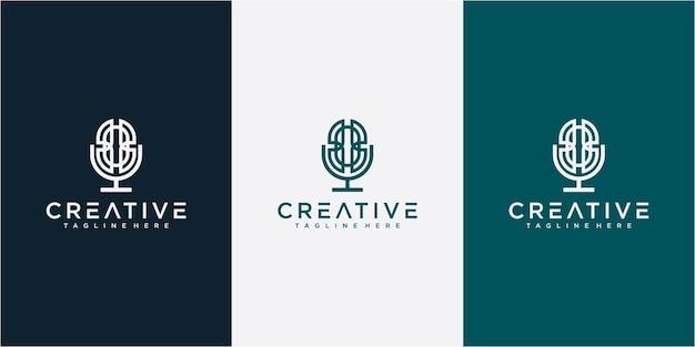 Design de logotipo de podcast de mic podcast de linha de cor azul claro. design de logotipo de podcast