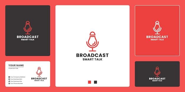 Design de logotipo de podcast de transmissão inteligente. design de logotipo da conversa de inteligência