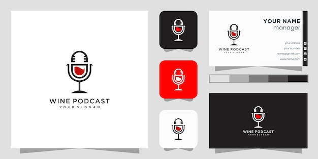Design de logotipo de podcast de vinho