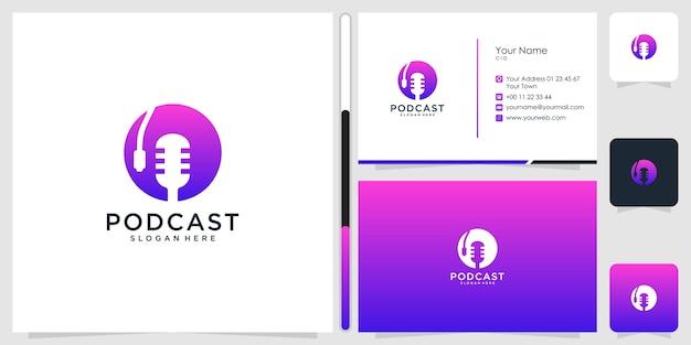 Design de logotipo de podcast e cartão de visita