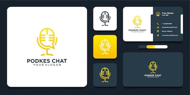 Design de logotipo de podcast e chat com arte de linha e estilo de cartão de visita