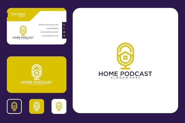 Design de logotipo de podcast em casa e cartão de visita