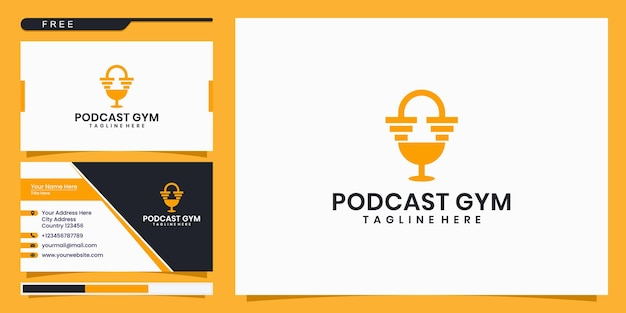 Design de logotipo de podcast fitness e cartão de visita