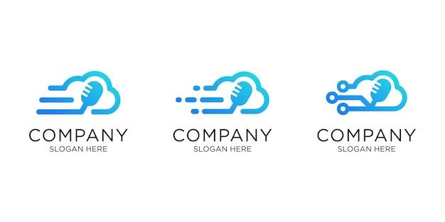 Design de logotipo de podcast na nuvem