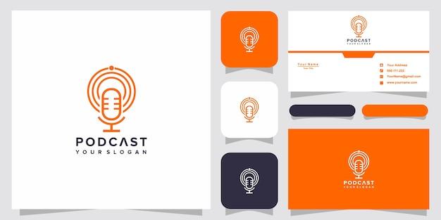Design de logotipo de podcast simples com modelo de cartão de visita
