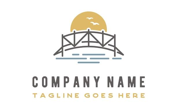 Design de logotipo de ponte de arte de linha