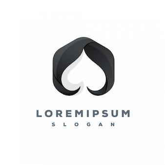 Design de logotipo de pôquer preto pronto para uso