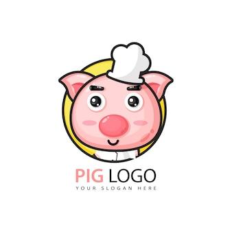 Design de logotipo de porco bonito