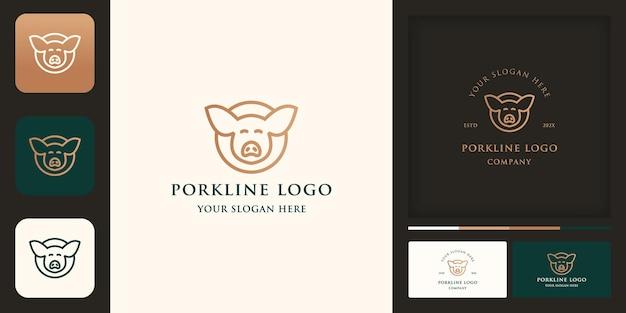 Design de logotipo de porco de linha circular e cartão de visita