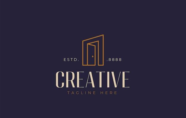 Design de logotipo de porta aberta ilustração em vetor de entrada e saída