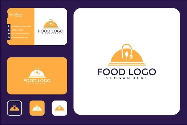 Design de logotipo de prato de comida e cartão de visita