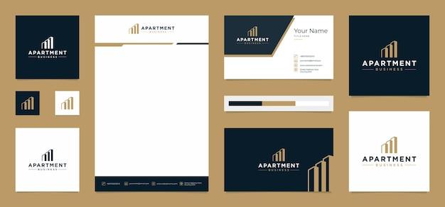 Design de logotipo de prédio de apartamentos com cartão de visita e papel timbrado