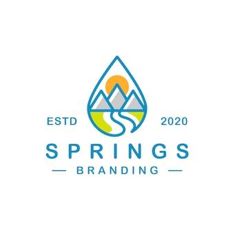 Design de logotipo de primavera de gota de água