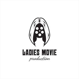 Design de logotipo de produção de mulher de filme criativo
