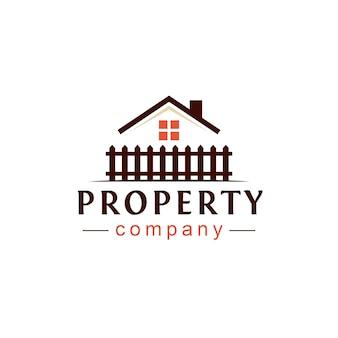 Design de logotipo de propriedade imobiliária Vetor Premium
