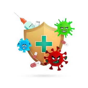 Design de logotipo de proteção contra coronavírus