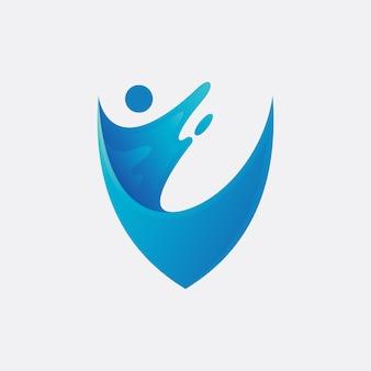 Design de logotipo de proteção de água