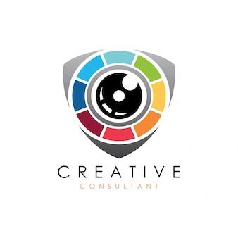 Design de logotipo de protetor de escudo de câmera