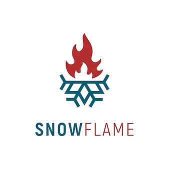 Design de logotipo de prumo e calor / frio & quente / flame & snowflake