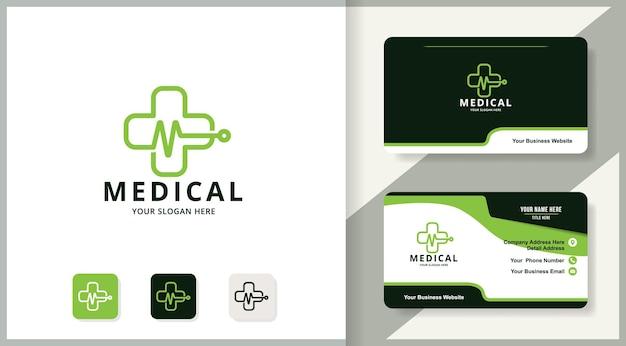 Design de logotipo de pulso de música de saúde cruzada, design de inspiração para terapia e medicina