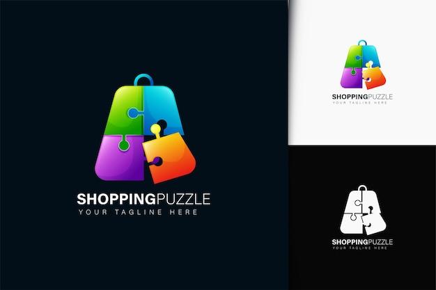Design de logotipo de quebra-cabeça de compras com gradiente
