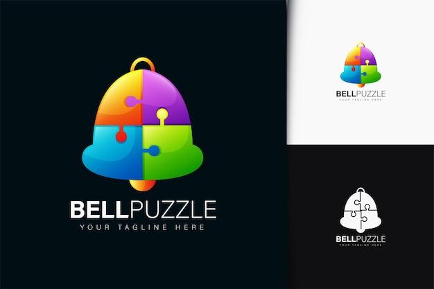 Design de logotipo de quebra-cabeça de sino com gradiente