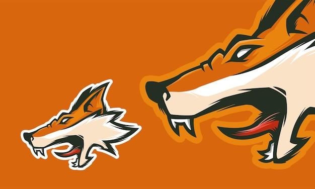 Design de logotipo de raposa zangada pronto para usar ilustração de mascote de vetor premium