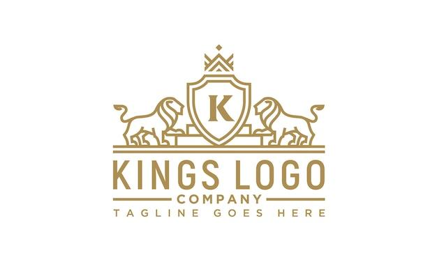 Design de logotipo de rei de leão real dourado