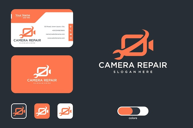 Design de logotipo de reparo de câmera e cartão de visita