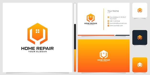 Design de logotipo de reparo doméstico e modelo de cartão de visita