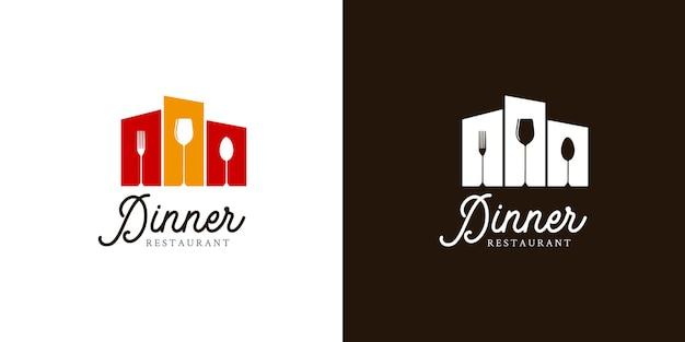 Design de logotipo de restaurante em modelo de fundo branco ou preto