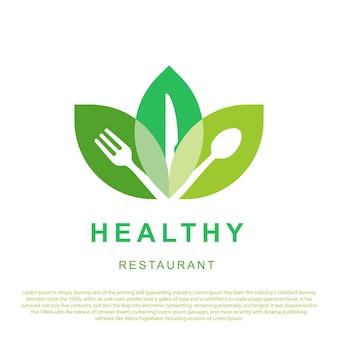 Design de logotipo de restaurante saudável logotipo de comida saudável com três folhas e colher, garfo e faca vecto