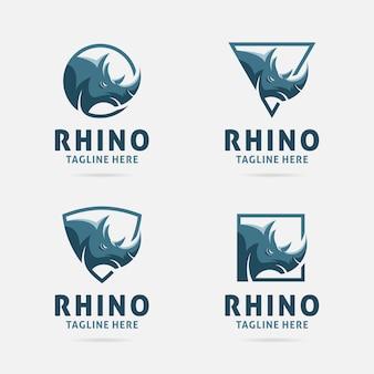 Design de logotipo de rinoceronte com quadros