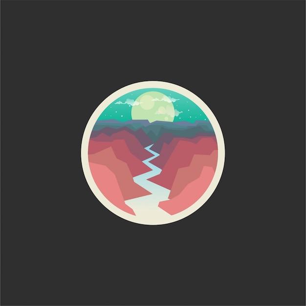 Design de logotipo de rio e montanhas