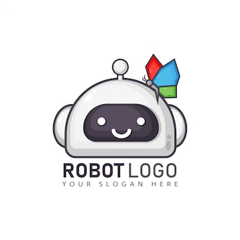 Design de logotipo de robô de desenho animado