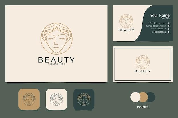 Design de logotipo de rosto de beleza e cartão de visita. bom uso para logotipo de moda, spa e salão de beleza