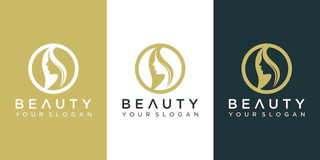 Design de logotipo de rosto de beleza.