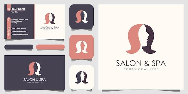 Design de logotipo de rosto feminino e salão de cabeleireiro