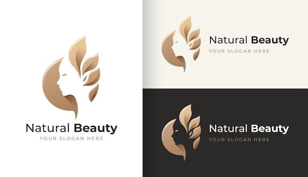 Design de logotipo de rosto natural beauty