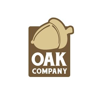 Design de logotipo de rótulo de bolota de carvalho