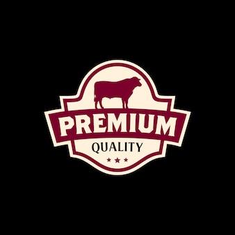 Design de logotipo de rótulo de carne de carne vintage