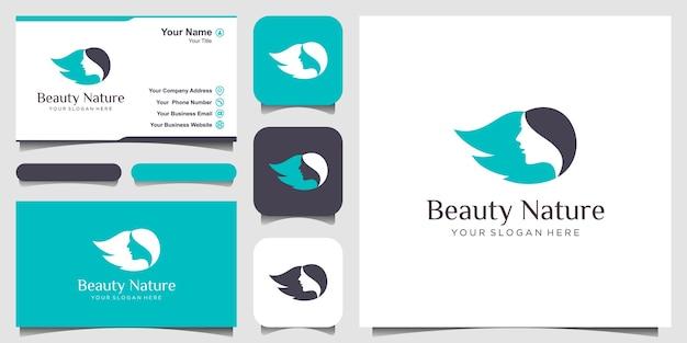 Design de logotipo de salão de beleza e rosto de mulher de beleza