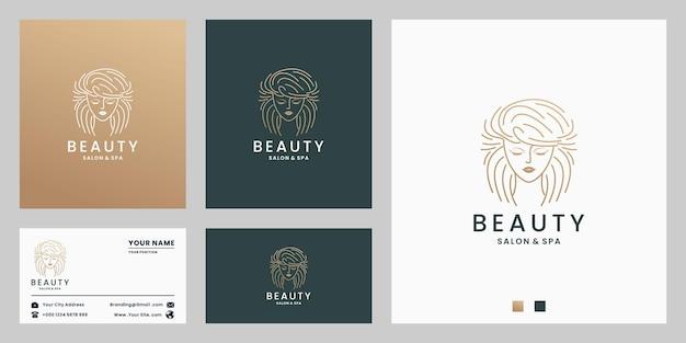 Design de logotipo de salão de beleza feminino e spa com cartão de visita