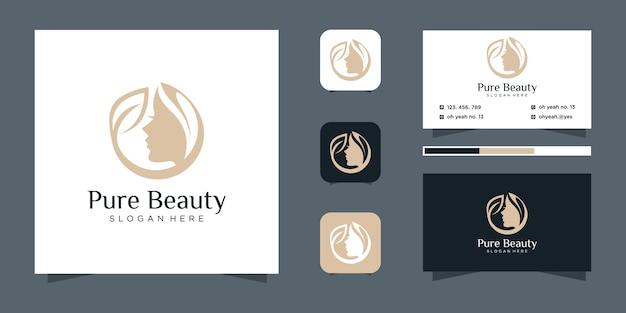 Design de logotipo de salão de cabeleireiro de mulher luxuosa