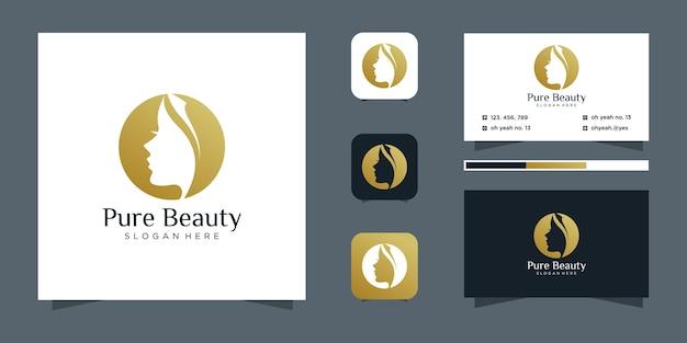 Design de logotipo de salão de cabeleireiro feminino de luxo