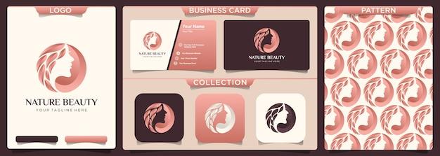 Design de logotipo de salão de cabelo de mulher moderna.